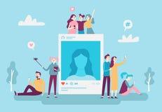 Fotobeitrag Knabenleute des Sozialen Netzes, die selfie Fotos auf Smartphone bekannt geben Social Media-Sucht-Vektorkonzept vektor abbildung