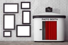Fotocabine voor Bakstenen muur met Lege Omlijstingen 3d vector illustratie