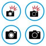 Fotocamera Rond gemaakte Vectorpictogrammen Stock Foto