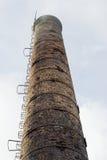 Fotoclose-up van de verontreinigende lucht van de fabriekspijp, op de achtergrond van hemel royalty-vrije stock afbeeldingen