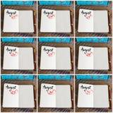Fotocollage av dagar 23rd till 31st av månaden Augusti som är handskriven på anteckningsboken Royaltyfria Bilder