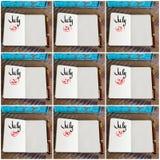 Fotocollage av dagar 23rd till 31st av månaden Juli som är handskriven på anteckningsboken Fotografering för Bildbyråer