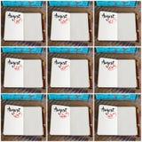 Fotocollage av dagar 19th till 27th av månaden Augusti som är handskriven på anteckningsboken Arkivbilder