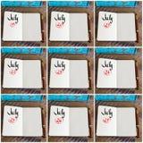 Fotocollage av dagar 19th till 27th av månaden Juli som är handskriven på anteckningsboken Royaltyfri Foto