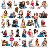 Fotocollage av en flicka med hunden och kanin Royaltyfri Fotografi