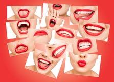 Fotocollage av härliga kanter för ung kvinna som täckas med glansig röd läppstift arkivfoto