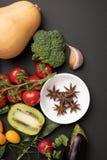 Fotocollage med frukter och grönsaker royaltyfria foton