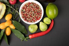 Fotocollage med frukter och grönsaker arkivbild
