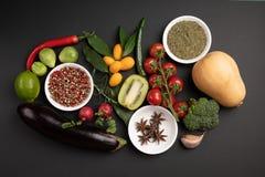 Fotocollage met vruchten en groenten stock fotografie