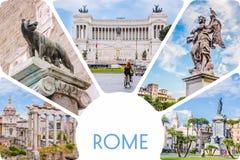 Fotocollage/uppsättning av soliga Rome - Roman Forum, staty på bron av den Sanka ängeln, piazzaVenezia huvudsakliga dragningar av fotografering för bildbyråer