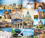 Fotocollage van architectuur van oude steden Stock Foto