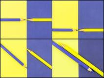 Fotocollage van Geel en Viooltje gekleurd potloden en document Royalty-vrije Stock Afbeeldingen