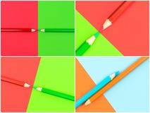 Fotocollage van Groen en Rood gekleurd potloden en document Stock Foto