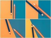Fotocollage van Oranje en Donkerblauw gekleurd potloden en document Royalty-vrije Stock Afbeelding