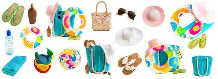 Fotocollage van strandtoebehoren en speelgoed vector illustratie