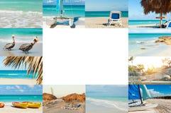 Fotocollage van tropisch eiland reis concept Cuba, Varadero vrije plaats voor tekst vector illustratie