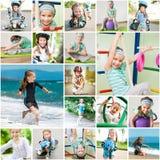 Fotocollage van wat meisje het spelen sporten royalty-vrije stock foto's