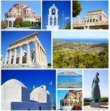 Fotocollage von Aegina-Insel Griechenland Lizenzfreie Stockfotos