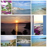 Fotocollage von Andros-Insel Griechenland Stockbild