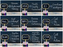 Fotocollage von den Geschäftsakronymen geschrieben mit Kreide auf hölzerne Minitafelaufkleber Stockfotos