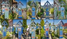 Fotocollage von Painted hölzernen Kreuzen im fröhlichen Kirchhof herein Lizenzfreies Stockbild