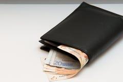 Fotoet är en plånbok med pengar som ut klibbar Arkivfoton