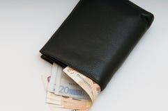 Fotoet är en plånbok med pengar som ut klibbar Royaltyfria Foton
