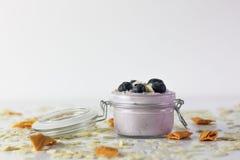 Fotoet av bl?b?ryoghurten, med tranb?r och mandlar p? svart kritiserar med vit bakgrund royaltyfri foto