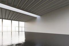 Fotoet av enormt tömmer utrymmegallerit i modern byggnad Tom inre vindstil med det konkreta golvet, panorama- fönster Arkivbilder