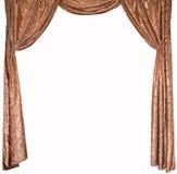 Fotoet av smarta gardiner från en guld- sammet Royaltyfri Fotografi