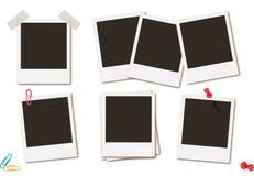 Fotoet inramar den retro ögonblickliga illustrationen för vektorn för kort för bildsvart Fotografering för Bildbyråer
