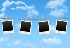 Fotofelder auf dem blauen Himmel Stockfotos