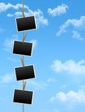 Fotofelder auf dem blauen Himmel Lizenzfreies Stockfoto