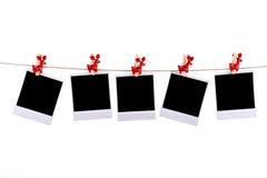 Fotofelder mit Weihnachtsverzierungen Stockbilder