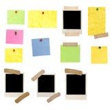 Fotofelder und farbige leere Anmerkungen Stockbilder