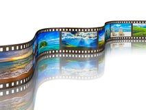 Fotofilm mit Reisebildern auf Weiß Stockfotos