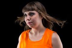 Fotofrau mit dem flüssigen Haar, weg schauend stockfotos