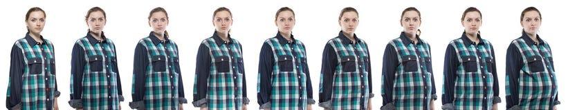 Fotofrau während der Schwangerschaft im karierten Hemd Lizenzfreies Stockfoto