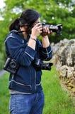 Fotograaf in actie Royalty-vrije Stock Fotografie