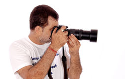 Fotograaf bezig op het werk stock fotografie