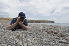 Fotograaf bij Snelle Baai, Zuid-Australië Stock Fotografie
