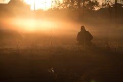 Fotograaf bij zonsopgang Stock Foto