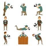 Fotograaf Characters Icon Set Stock Afbeelding