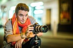 Fotograaf in de Straat die van New York een lange Blootstelling Pi nemen Royalty-vrije Stock Foto's