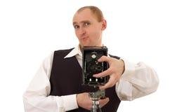 Fotograaf en oude camera royalty-vrije stock afbeeldingen