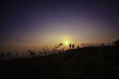 Fotograaf en zonsondergangtijd Royalty-vrije Stock Foto