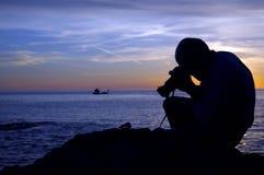 Fotograaf II van de zonsondergang Stock Afbeeldingen