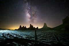 Fotograaf met Melkweg stock afbeeldingen