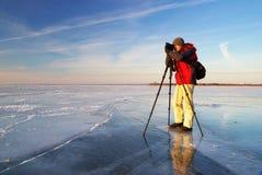 Fotograaf op het werk Stock Afbeelding