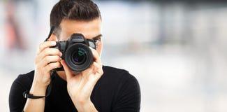 Fotograaf op het werk Stock Foto